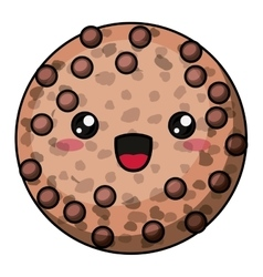 Coockie with kawaii face design vector image vector image