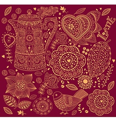 Decorative Coffee Background vector image vector image