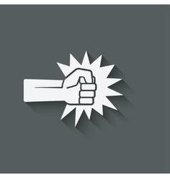 fist punch symbol vector image vector image