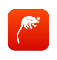 Marmoset monkey icon digital red vector