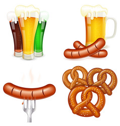 Oktoberfest Themes with Beer and Snack vector image