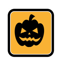 square frame of halloween with pumpkin vector image