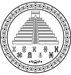 stencil of pyramids and symbols vector image