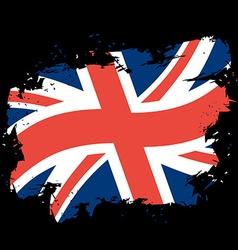 UK flag grunge style on black background Brush vector image vector image