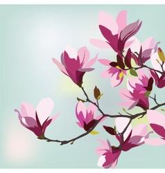 Vintage Watercolor Background with Magnolias vector image
