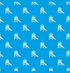 wooden stilt house pattern seamless blue vector image vector image