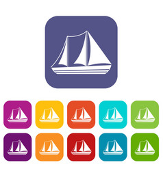 yacht icons set vector image vector image
