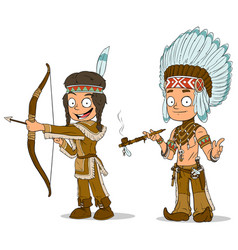 cartoon indian chief young warrior characters set vector image