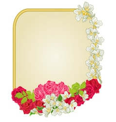 Golden frame with roses and jasmine greeting card vector image vector image