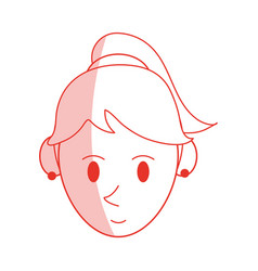 red shading silhouette cartoon face woman with vector image vector image