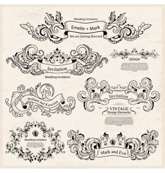 Set of Vintage Victorian ornaments Wedding design vector image