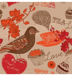 Bird and tea vector image vector image