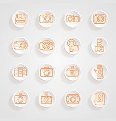 button shadows camera icons set vector image vector image