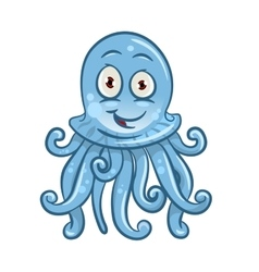 Cartoon blue jellyfish for sea life design vector image vector image