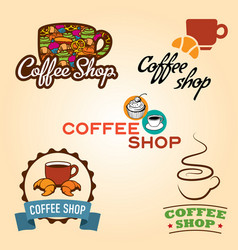 coffee shop emblem collection vector image