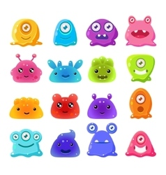 Cute Cartoon Jelly Monsters Set vector image