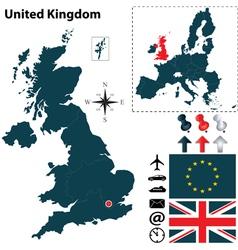Great Britan and European Union map vector image vector image