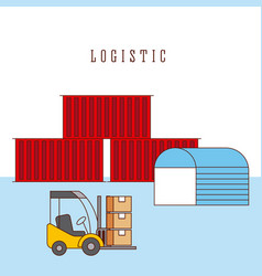 logistic warehouse containers and forklift boxes vector image vector image