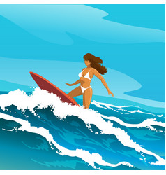 surfing woman vector image