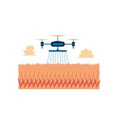 Aerial irrigation drone sprinkling water on orange vector