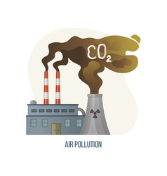 Air pollution with co2 gas emissions factory smog vector
