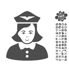 Airline stewardess icon with tools bonus vector