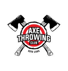 Axe throwing sport club logo design vector