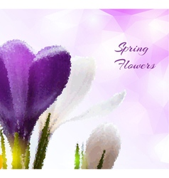 Beautiful spring flowers in polygonal style vector image
