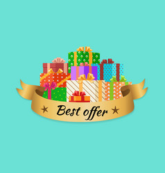 Best offer promo poster with gold ribbon gift box vector