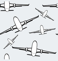 Black and white airplanes seamless background air vector