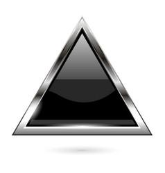 Black glass button 3d shiny triangle icon vector