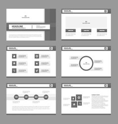 Black white presentation templates Infographic set vector