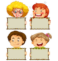 blank sign template with happy children on white vector image