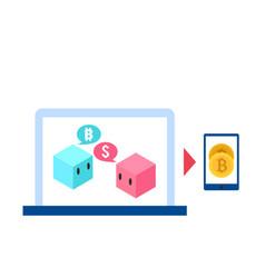 blockchain concept blockchain bitcoin background v vector image