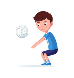 boy volleyball player takes ball vector image