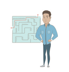 businessman looking at labyrinth with solution vector image