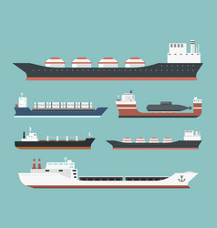 Cargo vessels and tankers shipping delivery bulk vector