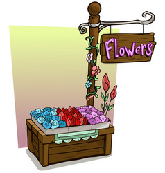 Cartoon flowers vendor booth market wooden stand vector