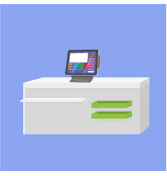 Cash register machine on store table vector