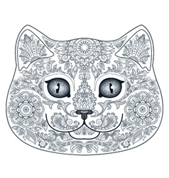 Cat head tattoo with floral ornaments vector image