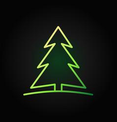 christmas tree green line icon on dark vector image