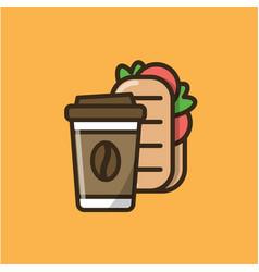 Coffee drink and ciabatta sandwich vector