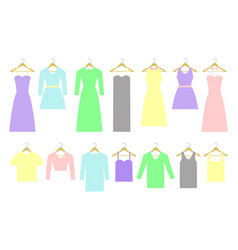 collection of different dresses and shirts on vector image