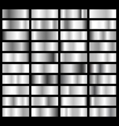 collection silver chrome metallic gradient vector image