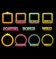 Create slot icons scatter bonus and wild text vector