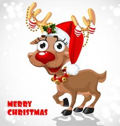 Cute Santa Reindeer vector image vector image