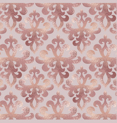 Damask pattern rose gold background with ornament vector