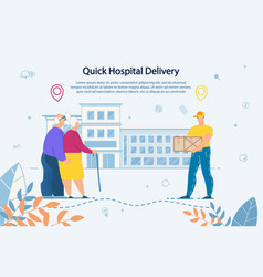 Delivery service to hospital for elderly people vector