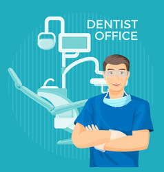 Dentist office with equipment placard on vector