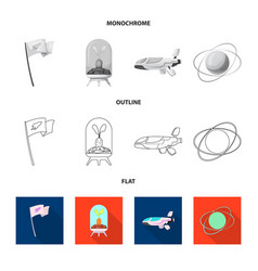 Design of mars and space icon set of mars vector